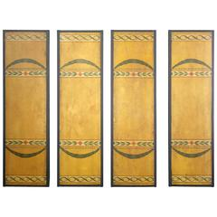 Paint Decorated Architectural Panels, Set of Four