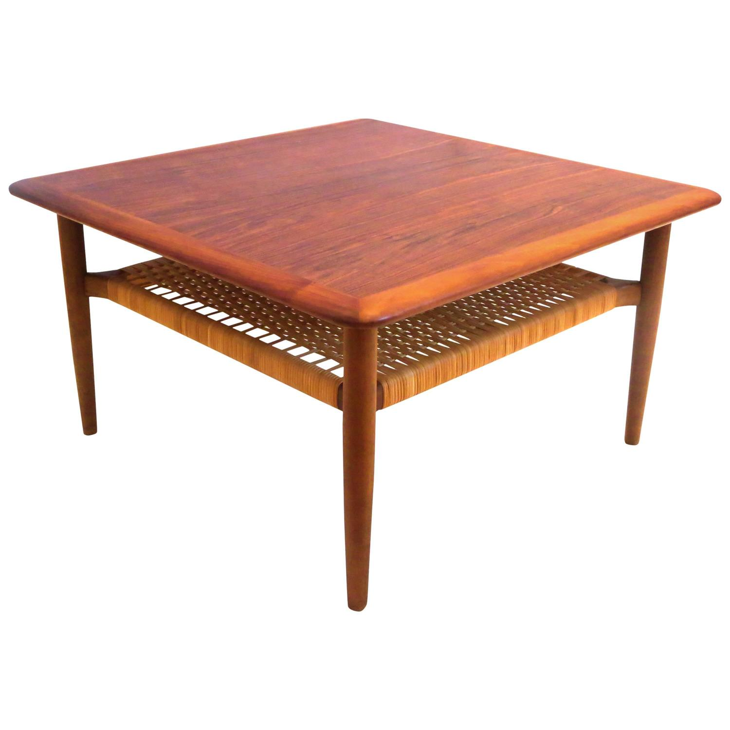 Danish Modern 1950s Square Coffee Table with Caned Shelf by Gunnar