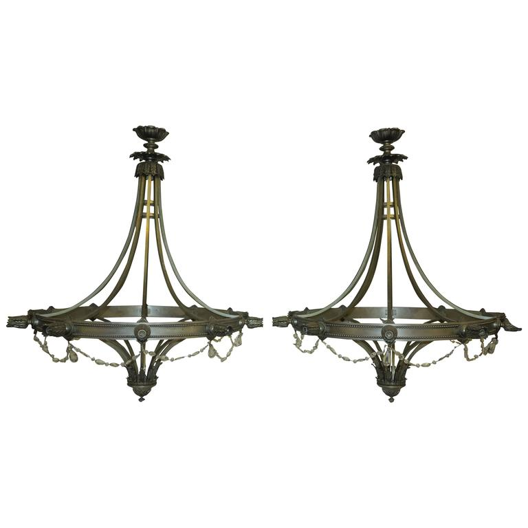 1950 Pair of Chandeliers with Ten Lights in the Style of Maison Jansen