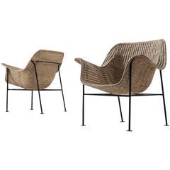 Pair of Scandinavian Wicker Armchairs