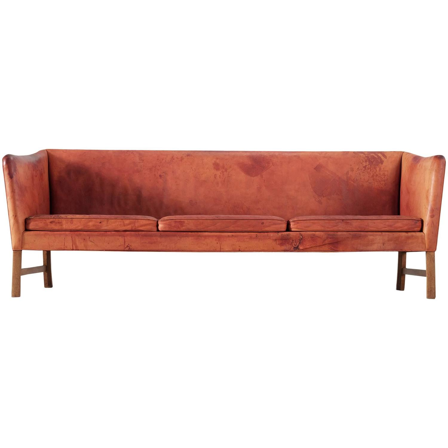 Ole Wanscher Patinated Sofa In Natural Leather For Sale At