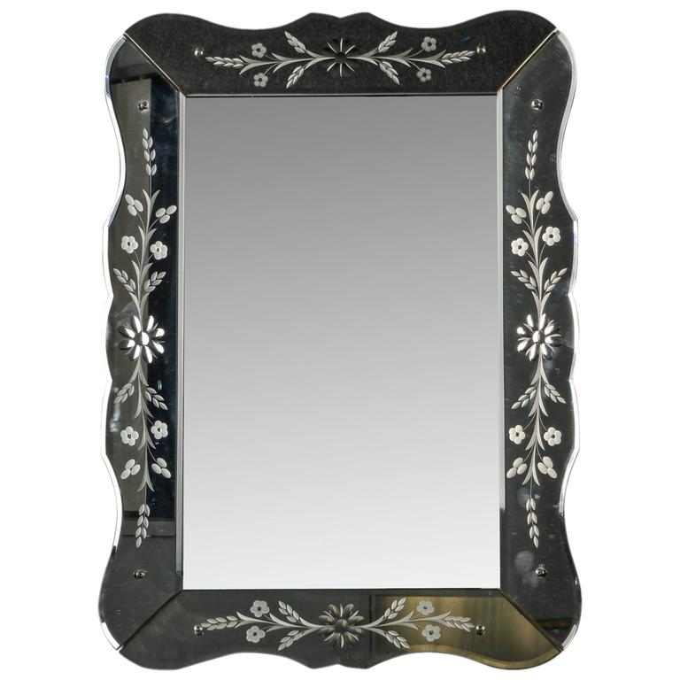 Art Deco Era Etched Frame Venetian Mirror For Sale