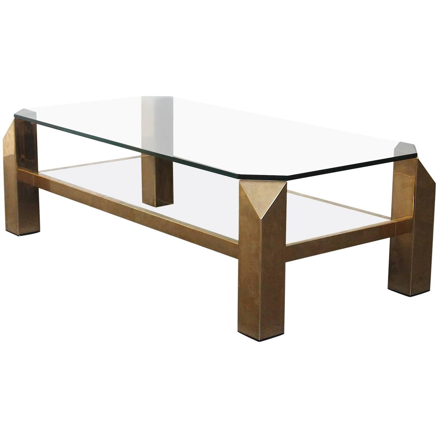 Belgo Chrome Mid century Modern 23 Karat Gold Plated Coffee Table