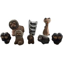 Collection of Upsala-Ekeby Pottery Figurines, Lions, Cat, Owl, Monkeys, Bison