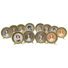 Set of 12 Dresden Hand-Painted Portrait Place Card Holders of French Royalty