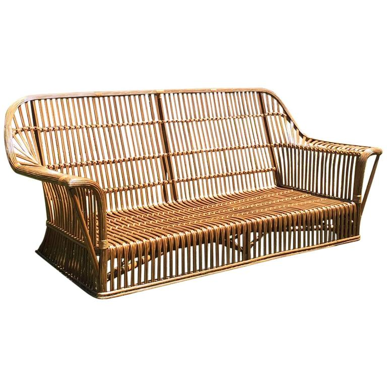 Antique Ficks Reed Stick Wicker Sofa at 1stdibs
