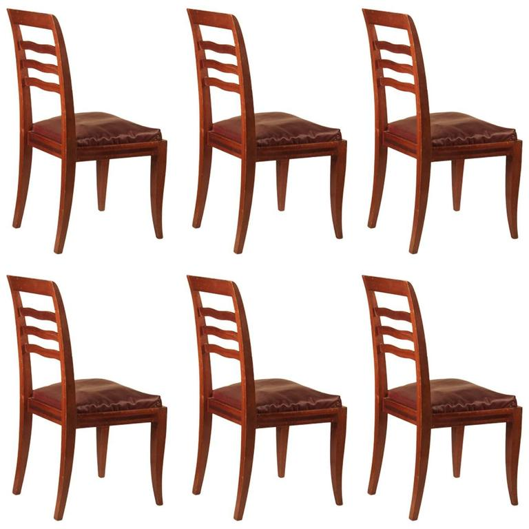 Paul Frechet Set of Six Mahogany Dining Chairs For Sale