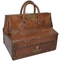 19th Century French Leather Doctors Bag with a Drawer at the Base