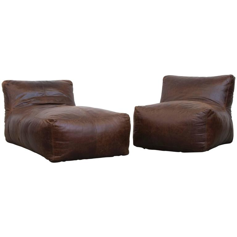 Mario bellini inspired leather lounge set in chocolate for Brown leather chaise longue