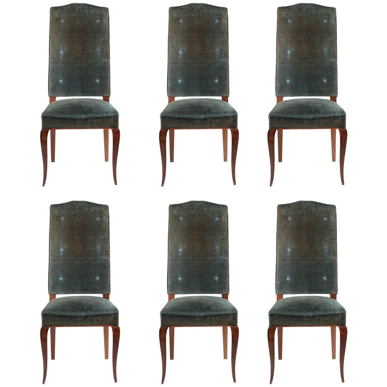 Attributed to Jean-Charles Moreux Set of Six Dining Chairs