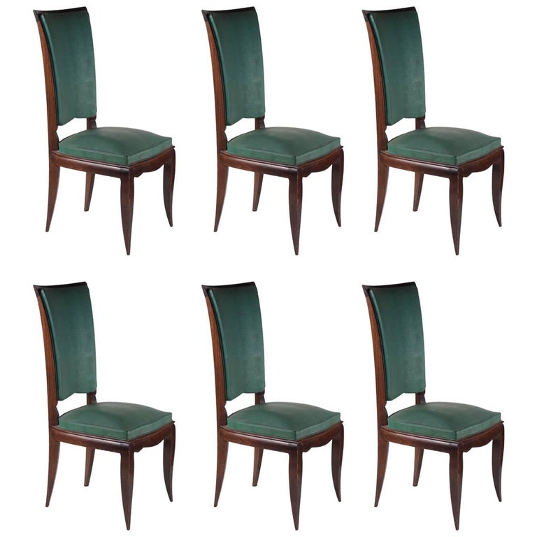 Rene Prou Fine Set of Six Dining Chairs For Sale