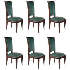 Rene Prou Fine Set of Six Dining Chairs