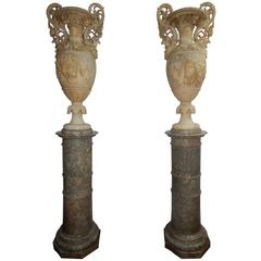 Monumental Pair of Carved Alabaster Urns and Pedestals