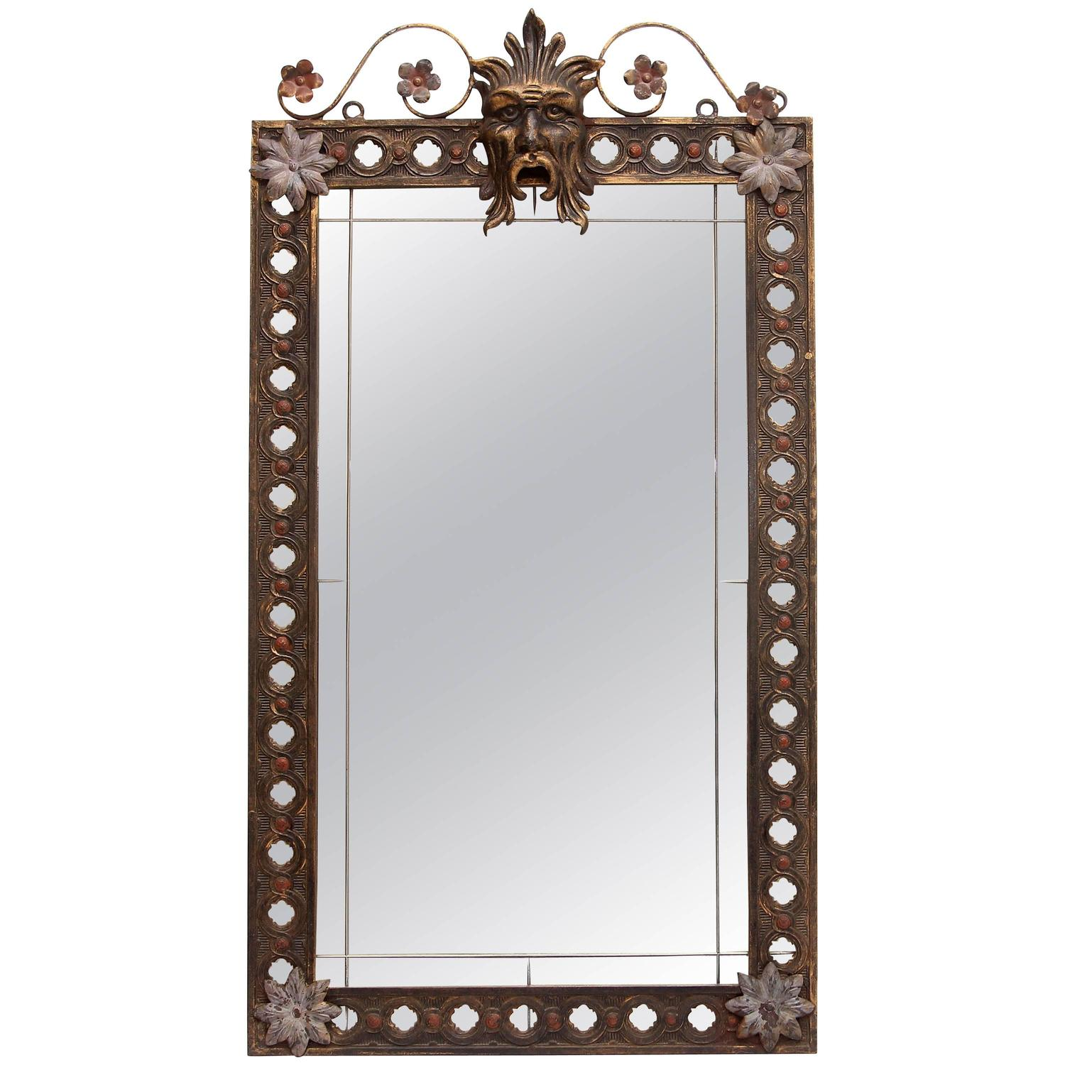 Antique wrought iron mirror for sale at 1stdibs for Wrought iron mirror