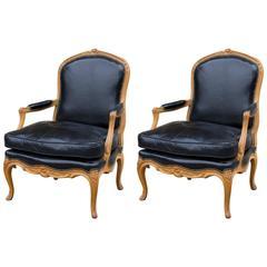 Pair of Beechwood Louis XV Armchairs