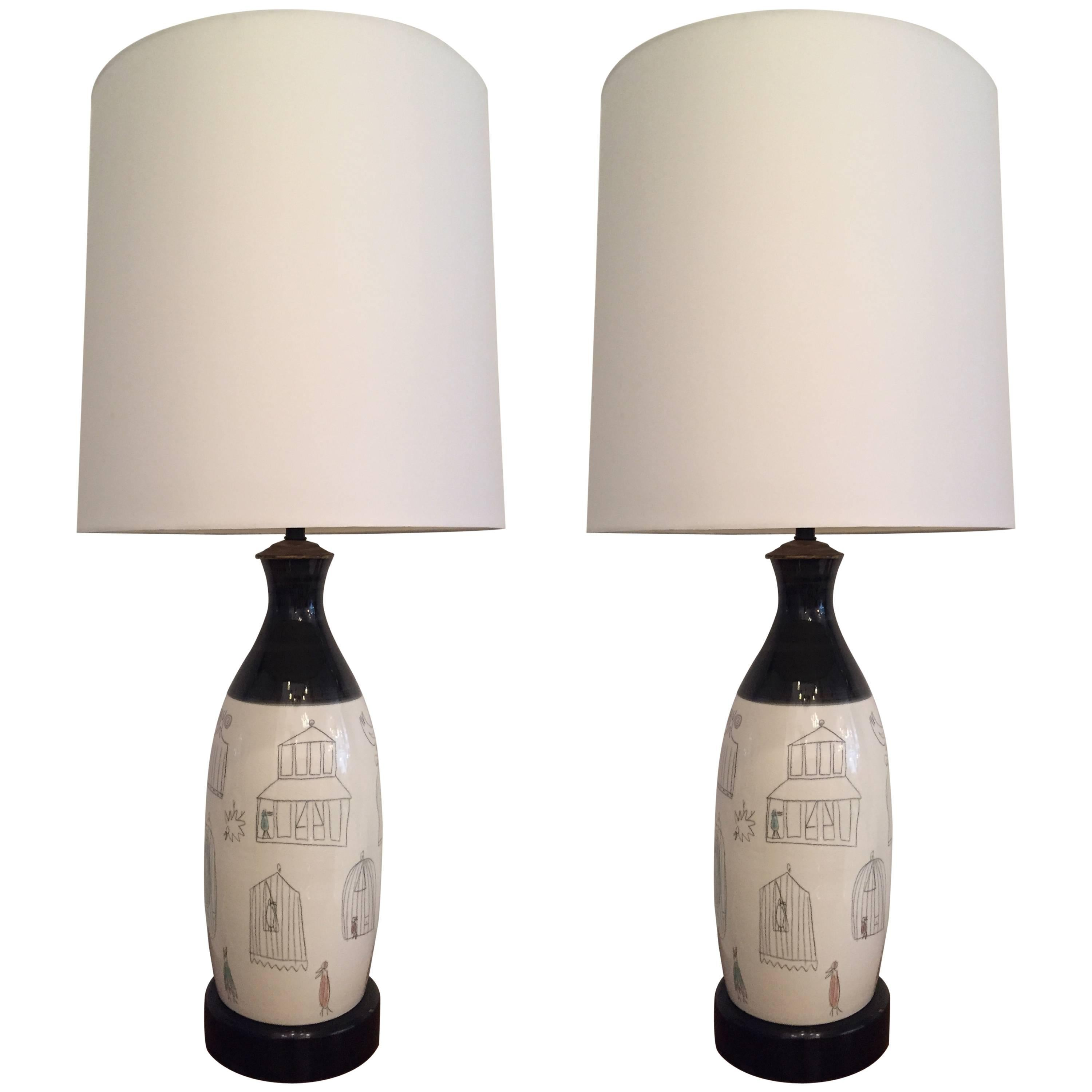 Pair of French 1960s Pottery Table Lamps