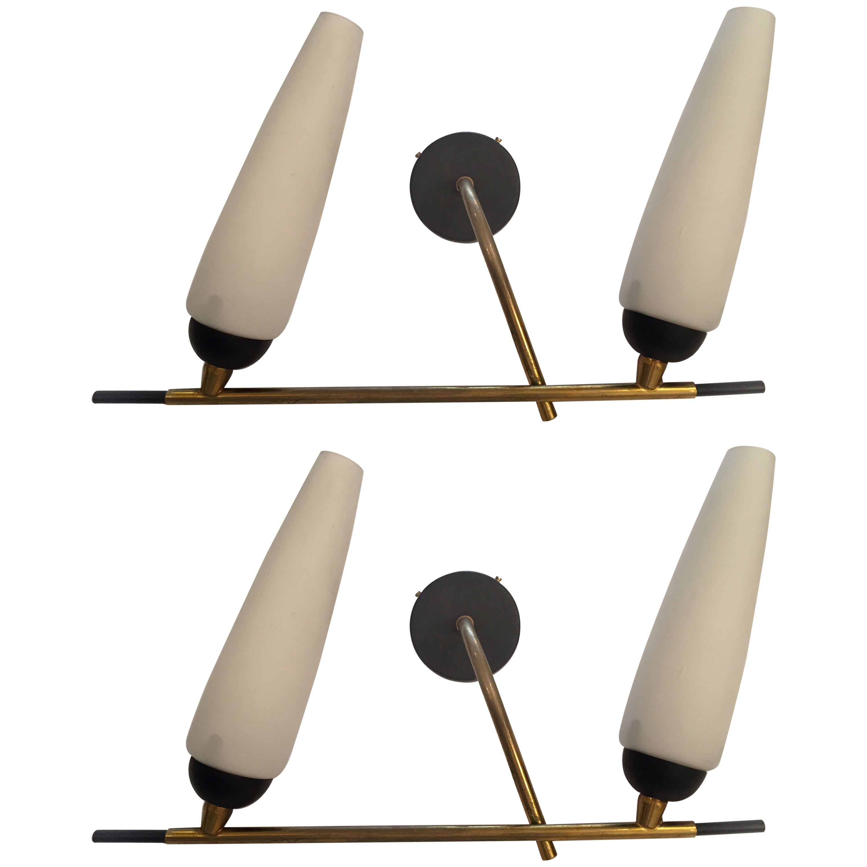 Pair of French Lunel 1960s Wall Lights