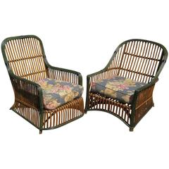 Pair of Stick Wicker Armchairs