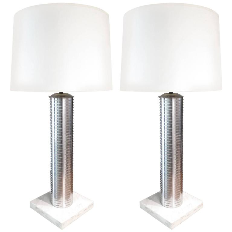 Stainless Column Table Lamps For Sale