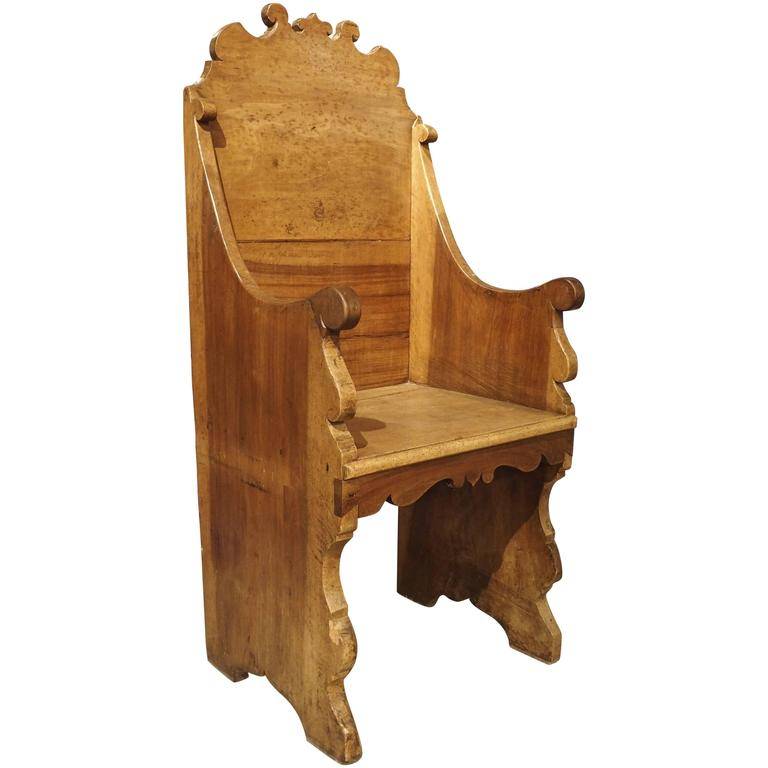 Antique Walnut Wood Armchair from Italy, 1700s