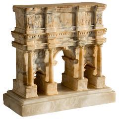 Impressive 19th Century Grand Tour Alabaster Model of Rome's Arch of Constantine