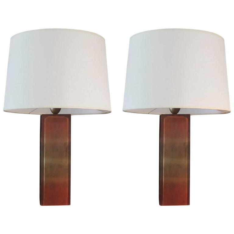 Pair of Resin Base Table Lamps For Sale
