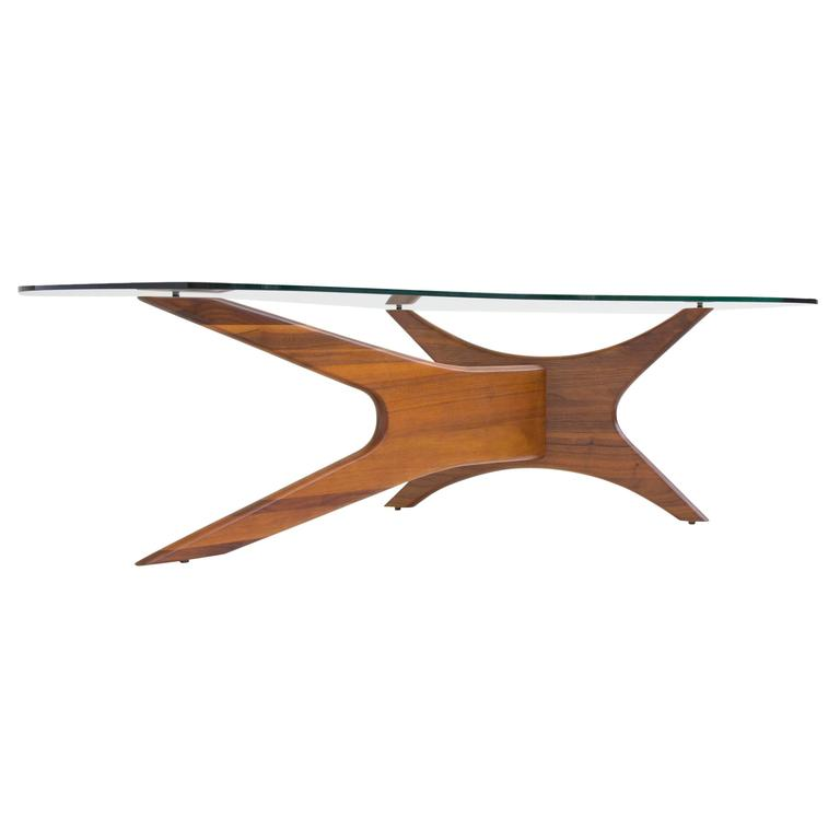 Adrian Pearsall For Craft Associates Glass And Walnut Coffee Table At 1stdibs