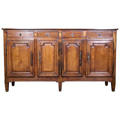 French Louis XVI Style Cherrywood and Fruitwood Inlaid Enfilade Buffet