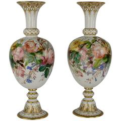 Pair of Opaline Baccarat Floral Vases