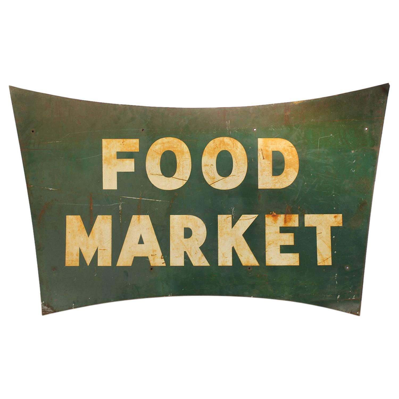 1950s food market metal sign at 1stdibs for Plaque metal cuisine