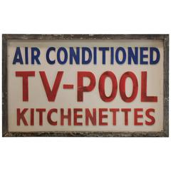 1950s Double Sided Light Up Tv-POOL Sign