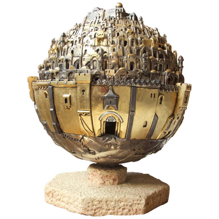 """The Golden City, Jerusalem"" Revolving Illuminated Sculpture by Frank Meisler"
