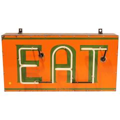 Vintage American Enamel and Neon EAT Sign