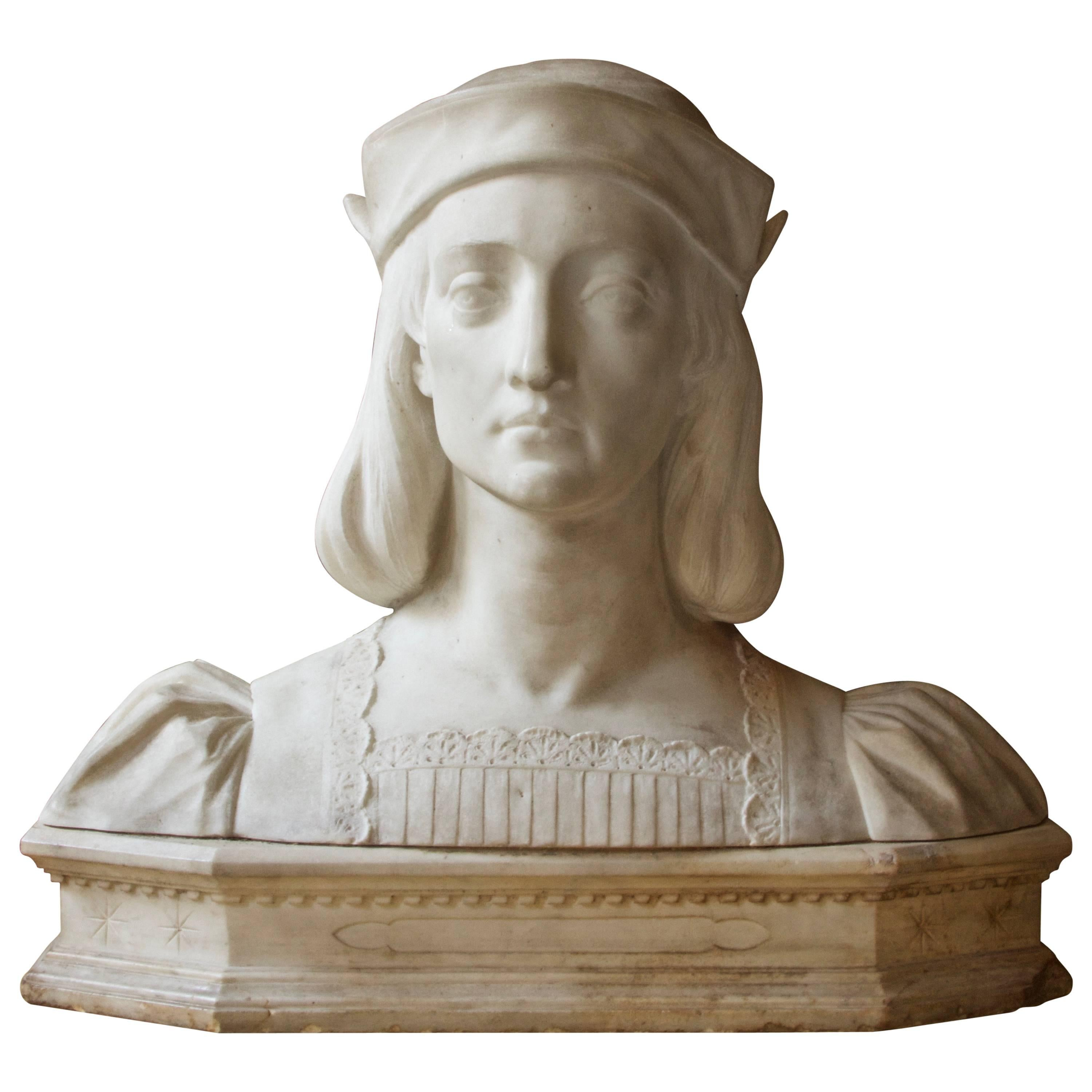 Antique Italian Marble Bust by Aristide Petrilli