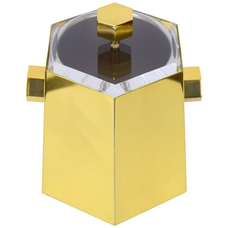Brass and Lucite Hexagonal Ice Bucket by Charles Hollis Jones