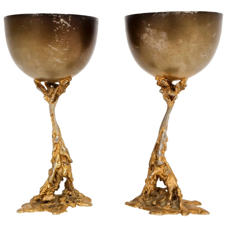 Gabriella Crespi Signed Brass Chalices 1970 Mid Century Italian For Sale