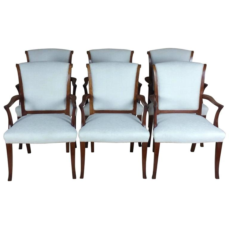 Set Of Six Early 20th Century Teak Elbow Chairs For Sale At 1stdibs