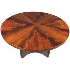 Swedish Art Deco Crotch Mahogany Coffee Table, Dated 1940