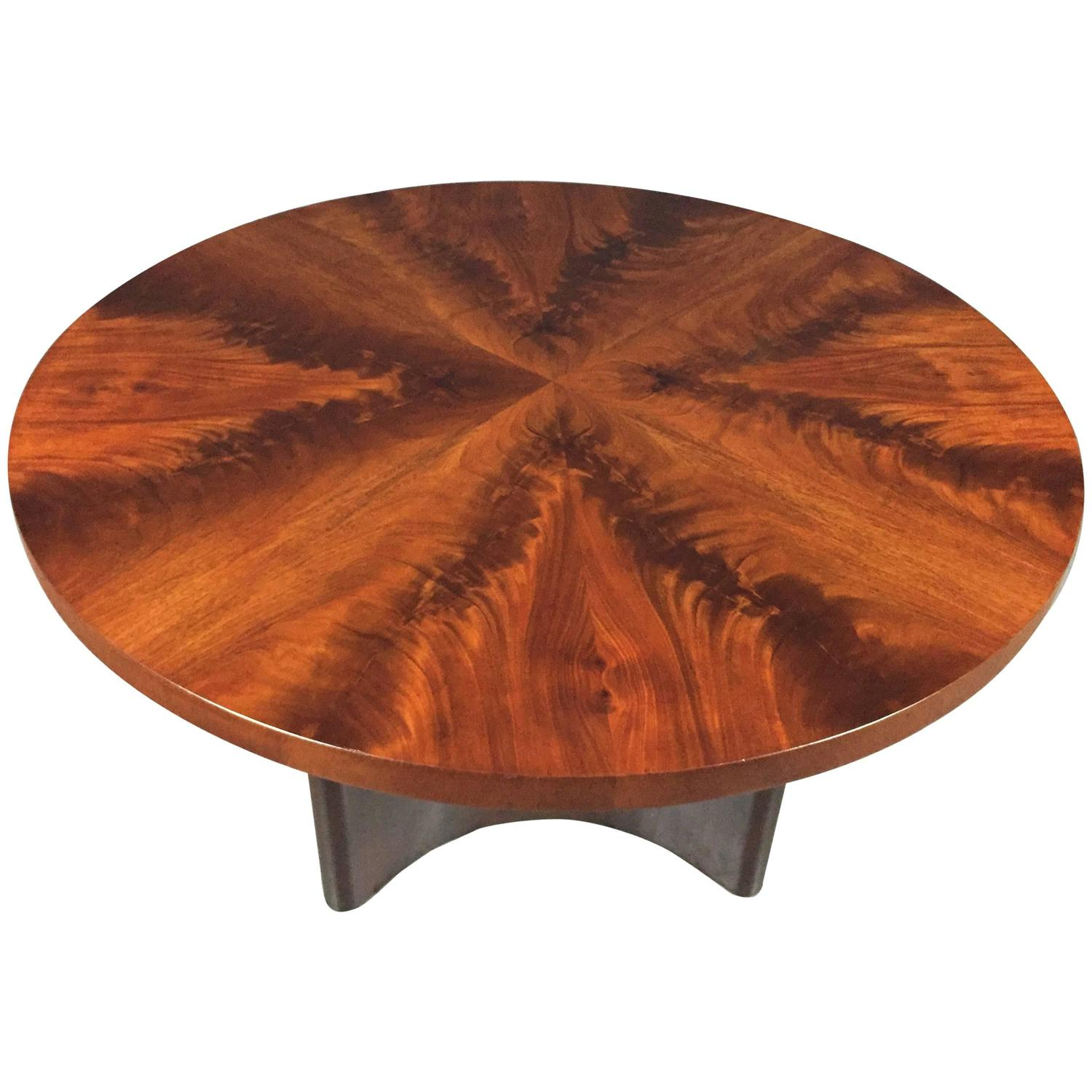 Swedish Art Deco Crotch Mahogany Coffee Table Dated 1940 at 1stdibs