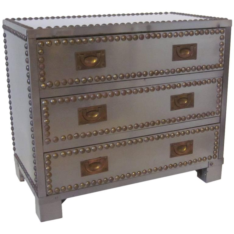 Stainless and brass Studded Jewelry Box For Sale at 1stdibs