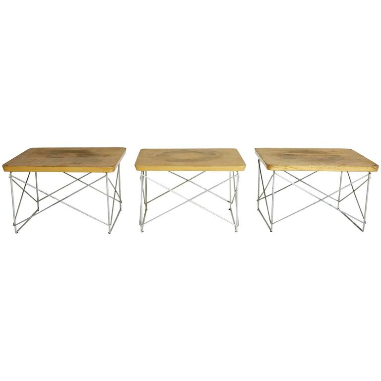 1950s Distressed Birch LTR Tables by Eames for Herman Miller, Early Production