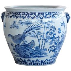 Large Chinese Blue and White Porcelain Jardinière or Planter