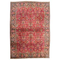 Antique Indian Agra Carpet with Rasbery Color