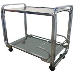 Mid-Century Italian Chromed Steel and Smoked Glass Bar Cart, 1950s