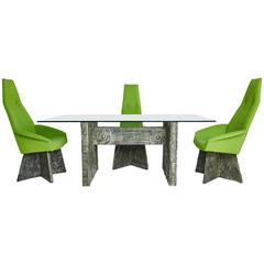 Brutalist Dining Set with Four Chairs and Dining Table by Adrian Pearsall