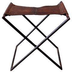 French Leather and Iron Folding Stool