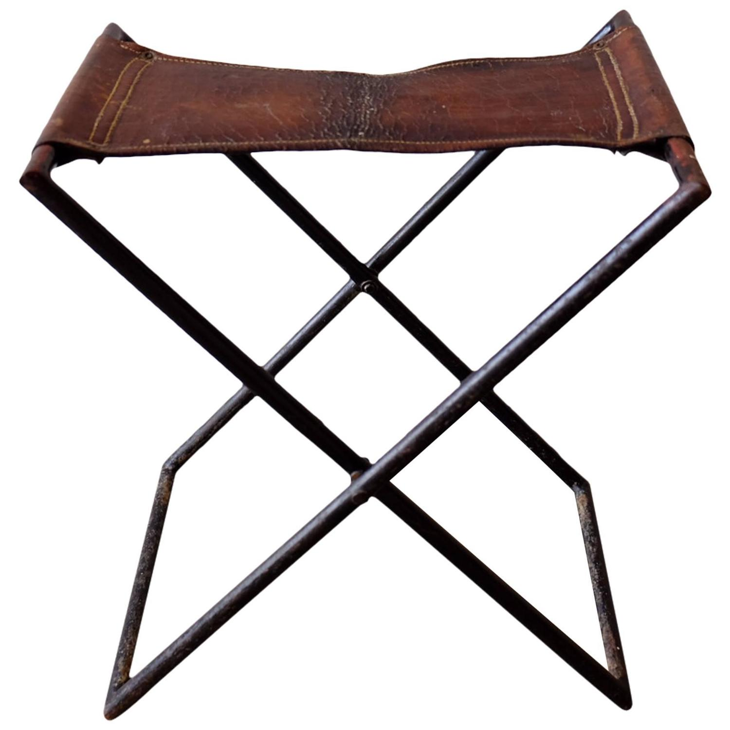 French Leather And Iron Folding Stool At 1stdibs