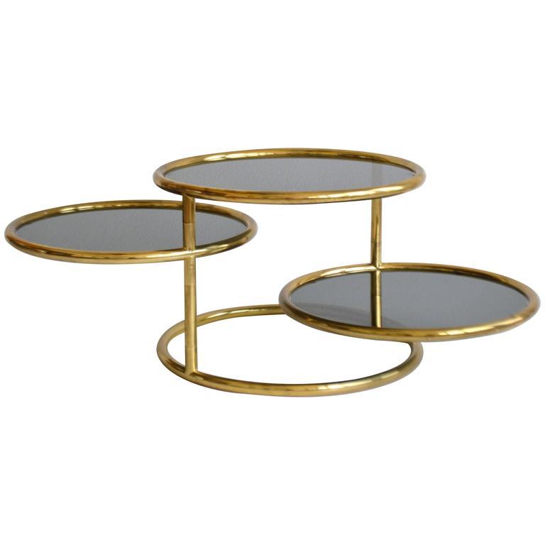 Postmodern Three-Tier Articulating Brass Side Table