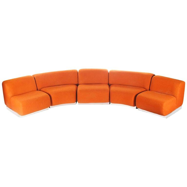Curved or Circular Mid-Century Modern Modular Sofa with Chrome Base