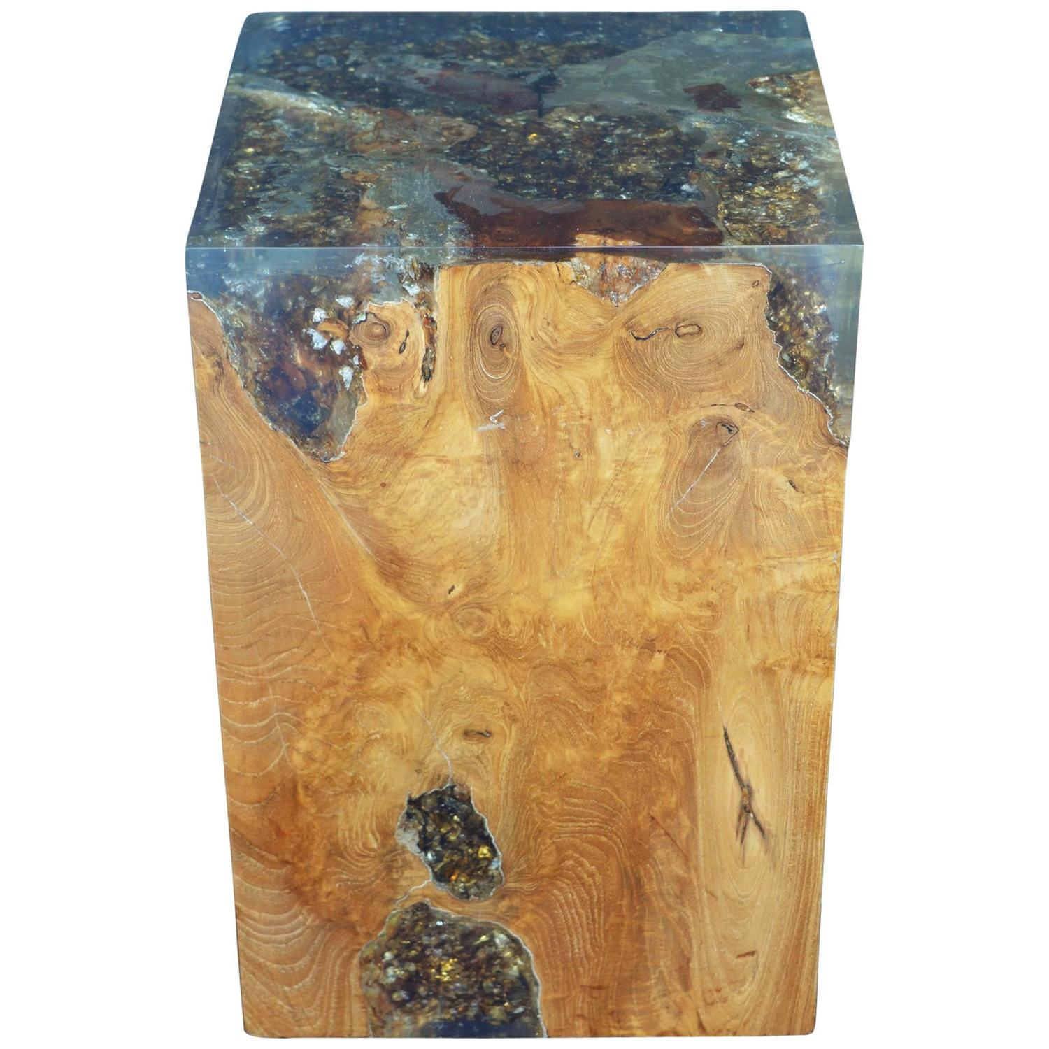 Wood Stool Encased In Resin At 1stdibs